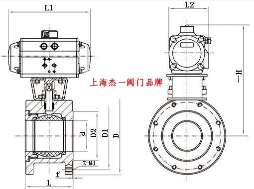 Q671F气动对夹球阀是气动球阀中的一种,是引进意大利技术进行国产化设计而发展出的新一代超短法兰距球阀,球芯通道形状有矩形、V形及O形。该产品具有结构紧凑、体积小、重量轻、安装方便等特点,可广泛应用在石油、化工、冶金、电站、轻工等领域,对油、水、气及纸浆或纤维状流体进行自动调节或切断控制。 二、气动对夹式球阀【特点及用途】   该薄型球阀是吸收意大利技术并经国产化设计而发展出来的新型超短法兰距球阀。 它采用直连方式执行机构连接,具有结构紧凑、尺寸小、重量轻、摩擦阻力小、回差小、动作稳定可靠等优点。