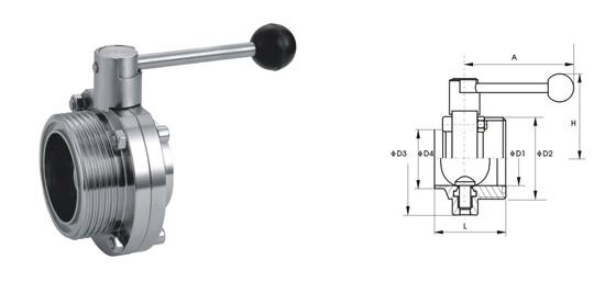 卫生级手动螺纹蝶阀属中线软密封蝶阀,其密封原理为,阀板加工时图片